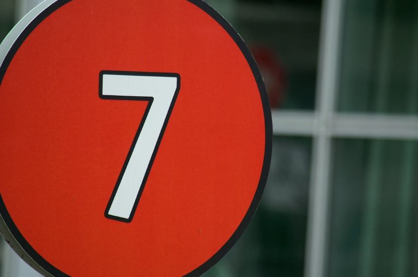 road sign, bus sign, bus number, 7